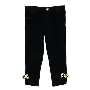 Gymboree Black Jeggings w/Leopard Print Bows